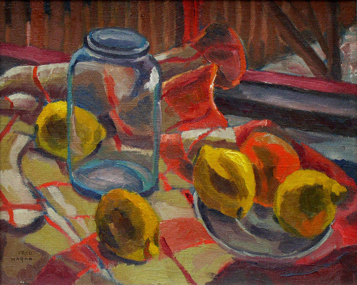 Frederick Hagan - Lemons at the Studio Window - 1938, Oil on Canvas, Framed in Original Wood Grey Studio Frame,  - Bau-Xi Gallery