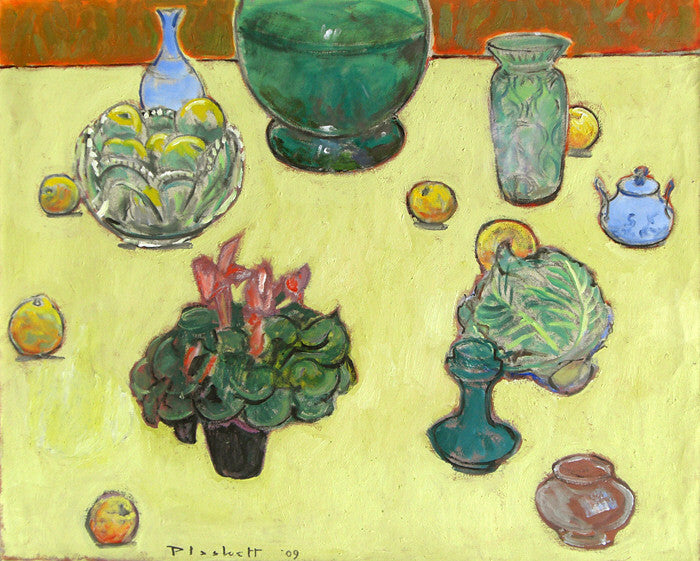 Joseph Plaskett Artwork | Impressionist still life, landscape, and figurative oil paintings, later informed by Modernism, seeing the addition of geometric shapes and abstract elements.