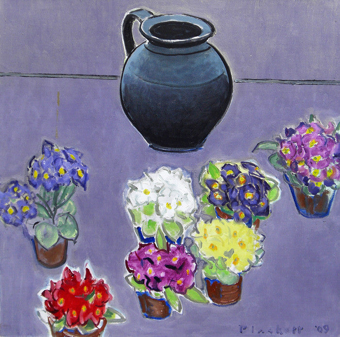 Joseph Plaskett - Black Jar and Primroses, Oil on Canvas, Framed in Brushed Silver,  - Bau-Xi Gallery