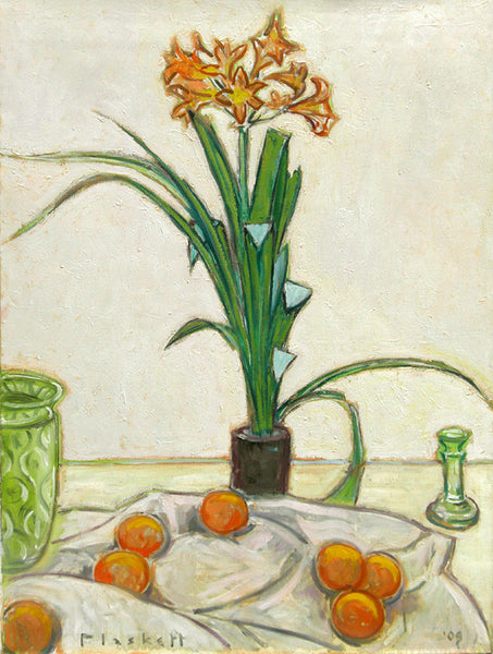 Joseph Plaskett - Clivia and Oranges, Oil on Canvas, Floating in White Frame,  - Bau-Xi Gallery
