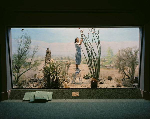 Richard Barnes - Desert Scene with Woman & Coyotes, Chromogenic Print Mounted to Archival Substrate, Framed in White with Plexiglass,  - Bau-Xi Gallery
