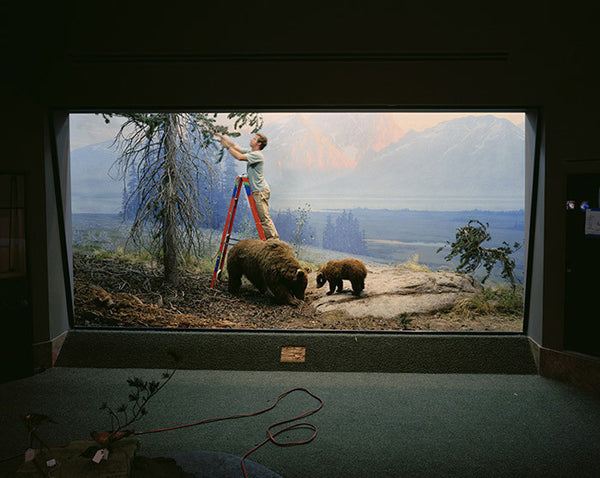 Richard Barnes - Mountain Scene with Man and Bears, Chromogenic Print Mounted to Archival Substrate, Framed in White with Plexiglass,  - Bau-Xi Gallery