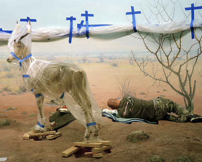 Richard Barnes - Single Ungulate and Man Amid Blue Crosses - available in 3 sizes, Chromogenic Print Mounted to Archival Substrate, Framed in White with Plexiglass,  - Bau-Xi Gallery