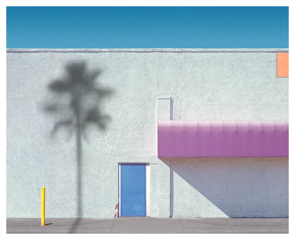 George Byrne - Pink Awning with Yellow - 2 sizes, $2,500-$6,000, Archival Pigment Print on Archival Substrate, Framed in White,  - Bau-Xi Gallery