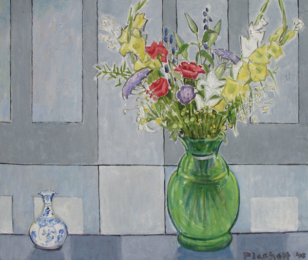 Joseph Plaskett - Birthday Bouquet, Oil on Canvas, Framed in Brushed Silver,  - Bau-Xi Gallery