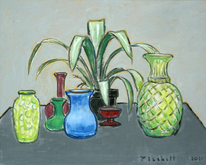 Joseph Plaskett - Still Life on Grey Table, Oil on Canvas, Framed in Brushed Silver,  - Bau-Xi Gallery
