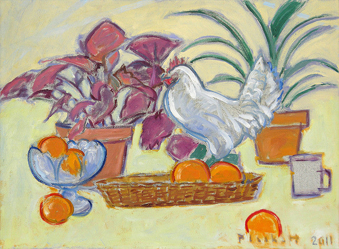 Joseph Plaskett - Still Life with Chicken, Oil on Canvas, Framed in Brushed Silver,  - Bau-Xi Gallery