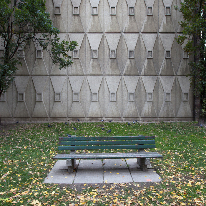 Chris Shepherd - Brutalist Bench, Charles Street - 36x36 in. - $3,100, Chromogenic Print Mounted to Archival Substrate, Framed in White with Glass,  - Bau-Xi Gallery