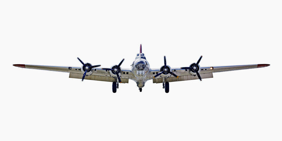 Jeffrey Milstein - Boeing B-17G Flying Fortress (front view), Archival Inkjet Print Mounted on Archival Substrate, Framed in White with Plexiglass,  - Bau-Xi Gallery