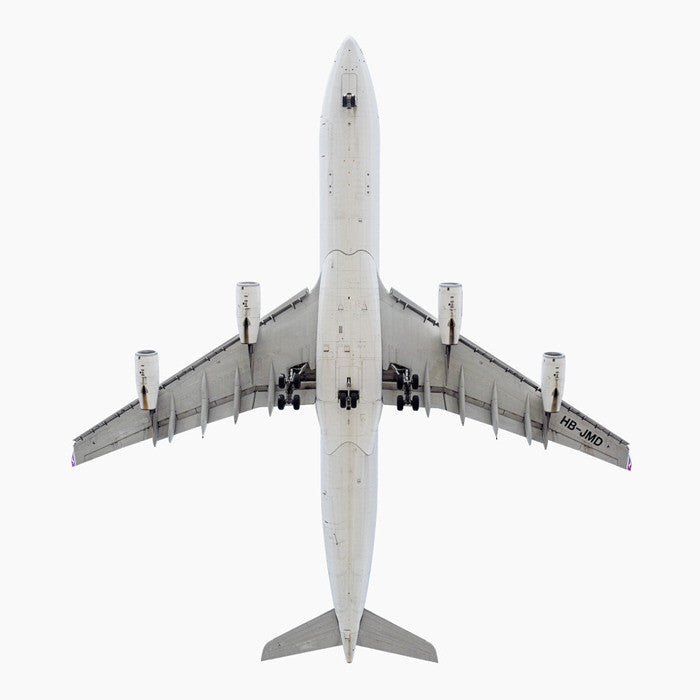 Jeffrey Milstein - Swiss International Airlines Airbus A340-300 - Available in 5 sizes, Archival Inkjet Print Mounted on Archival Substrate, Framed in White with Plexiglass,  - Bau-Xi Gallery