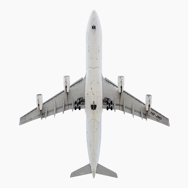 Jeffrey Milstein - Swiss International Airlines Airbus A340-300, Archival Inkjet Print Mounted on Archival Substrate, Framed in White with Plexiglass,  - Bau-Xi Gallery