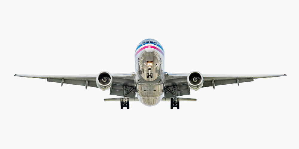 Jeffrey Milstein - American Airlines Boeing 777-200, Archival Inkjet Print Mounted on Archival Substrate, Framed in White with Plexiglass,  - Bau-Xi Gallery