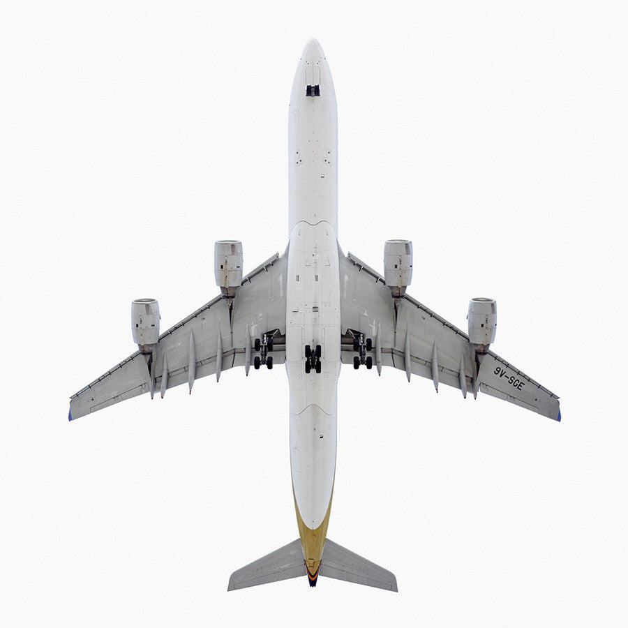 Jeffrey Milstein - Singapore Airlines Airbus A340-300 - Available in 5 sizes, Archival Inkjet Print Mounted on Archival Substrate, Framed in White with Plexiglass,  - Bau-Xi Gallery