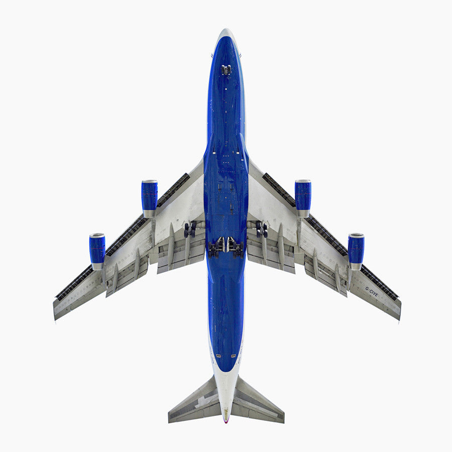 Jeffrey Milstein - British Airways Boeing 747-400, Archival Inkjet Print Mounted on Archival Substrate, Framed in White with Plexiglass,  - Bau-Xi Gallery