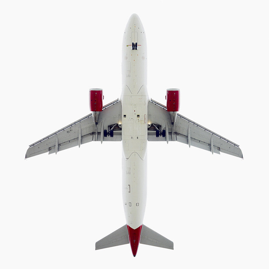Jeffrey Milstein - Virgin American Airbus A320 - Available in 5 sizes, Archival Inkjet Print Mounted on Archival Substrate, Framed in White with Plexiglass,  - Bau-Xi Gallery