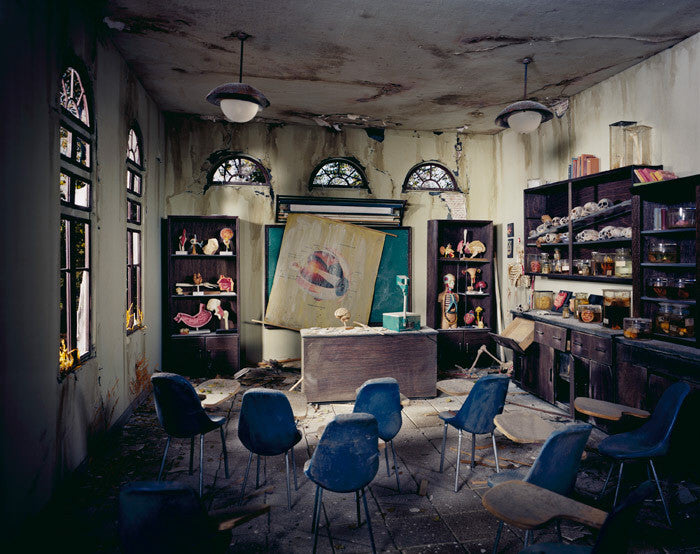 Lori Nix - Anatomy Classroom - Available in 3 sizes, Chromogenic Print Mounted to Archival Substrate, Framed in White with Plexiglass,  - Bau-Xi Gallery