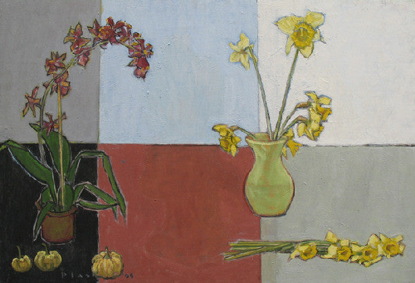 Joseph Plaskett - Orchid, Daffodils and Small Pumpkins, Oil on Canvas, Floating in Brushed Silver Frame,  - Bau-Xi Gallery