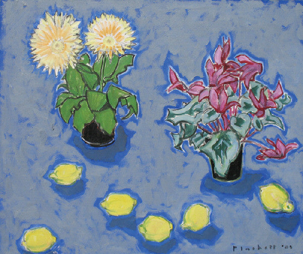 Joseph Plaskett - Gerbera, Cyclamen and Lemons, Oil on Canvas, Floating in Brushed Silver Frame,  - Bau-Xi Gallery