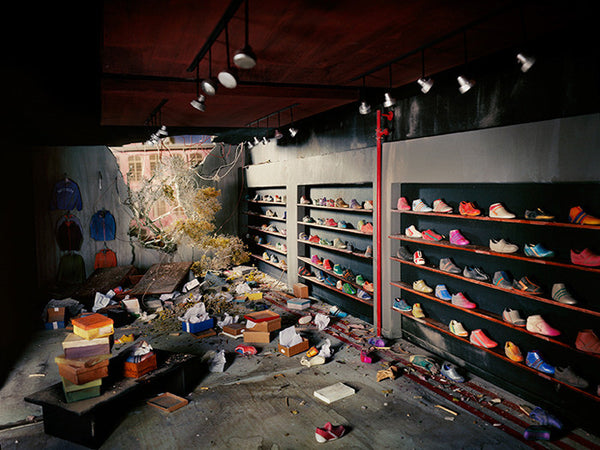 Lori Nix - Shoe Store - available in 3 sizes, Chromogenic Print Mounted to Archival Substrate, Framed in White with Plexiglass,  - Bau-Xi Gallery