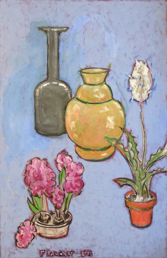 Joseph Plaskett - Still Life on Blue, Oil on Canvas, Floating in White Frame,  - Bau-Xi Gallery