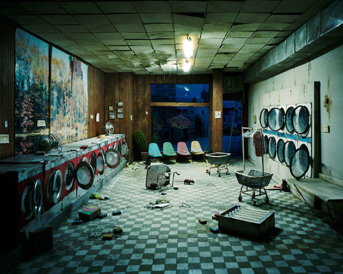 Lori Nix - Laundromat at Night - available in 2 sizes, Chromogenic Print Mounted to Archival Substrate, Framed in White with Plexiglass,  - Bau-Xi Gallery