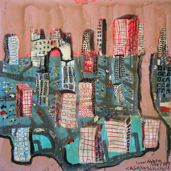 Casey McGlynn - Lower Manhattan & the Navy Yard, Mixed Media on Canvas, Unframed,  - Bau-Xi Gallery