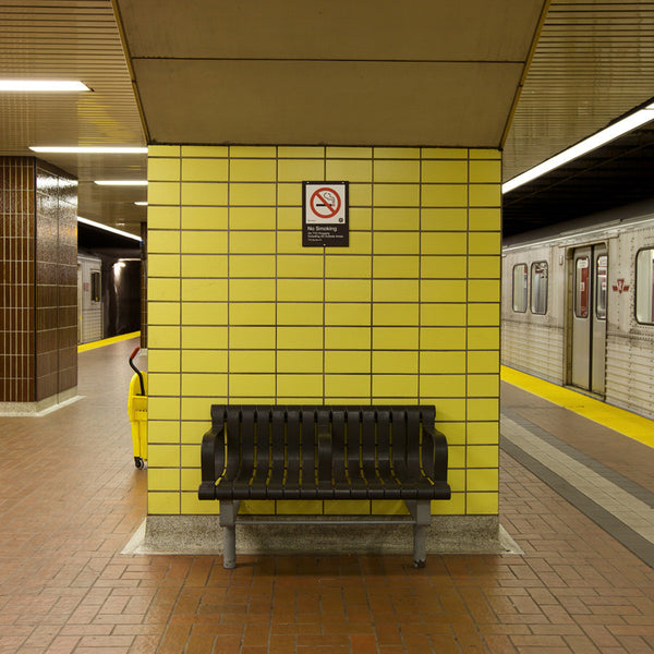 Chris Shepherd - Kennedy Station Platform Bench, Toronto - 3 sizes, $1,550-$5,000, Chromogenic Print Mounted to Archival Substrate, Framed in White with Glass,  - Bau-Xi Gallery