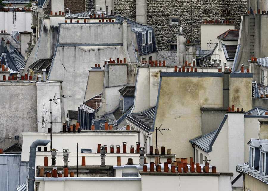 Michael Wolf - Paris Rooftops 1, Chromogenic Print Mounted to Archival Substrate, Framed in White with Non-Reflective Plexiglass,  - Bau-Xi Gallery