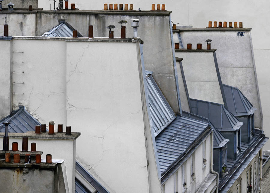 Michael Wolf - Paris Rooftops 3, Chromogenic Print Mounted to Archival Substrate, Framed in Black with Plexiglass,  - Bau-Xi Gallery