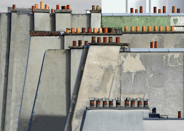 Michael Wolf - Paris Rooftops 4, Chromogenic Print Mounted to Archival Substrate, Framed in Black with Plexiglass,  - Bau-Xi Gallery