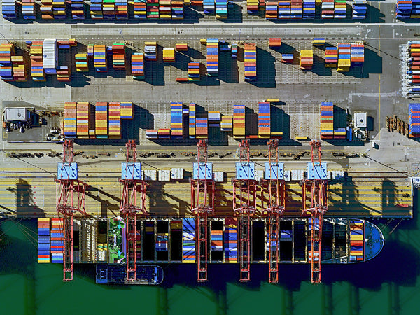 Jeffrey Milstein - Container Port 30, Archival Inkjet Print Mounted on Archival Substrate, Framed in White with Plexiglass,  - Bau-Xi Gallery