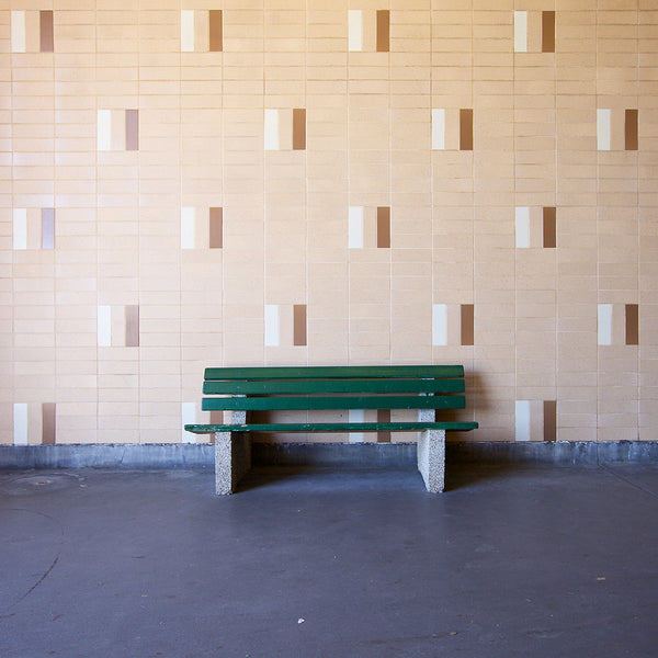 Chris Shepherd - Warden Station Bus Bay Bench, Toronto - 36x36 in. - $3,100, Chromogenic Print Mounted to Archival Substrate, Framed in White with Glass,  - Bau-Xi Gallery