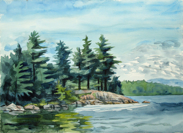 Frederick Hagan - Canadian Shield #90 - 1990, Watercolour on Paper, Framed in Brown with Glass,  - Bau-Xi Gallery