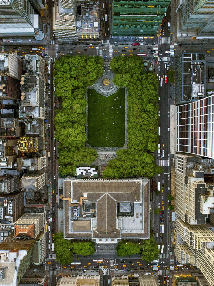 Jeffrey Milstein - NYC 26 Bryant Park - Available in 4 sizes, Archival Inkjet Print Mounted on Archival Substrate, Framed in White with Plexiglass,  - Bau-Xi Gallery