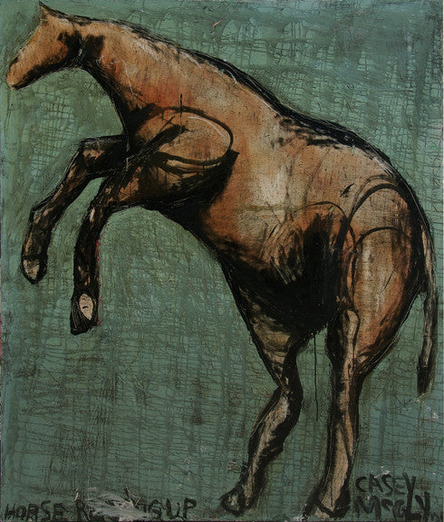 Casey McGlynn - Horse Rearing Up, Mixed Media on Canvas, Unframed,  - Bau-Xi Gallery