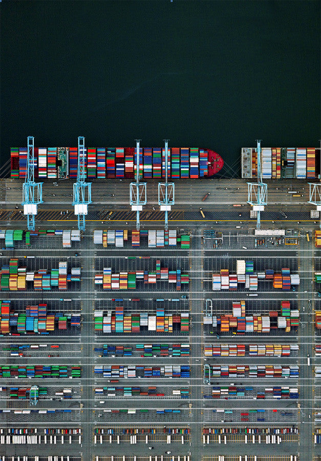 Jeffrey Milstein - Container Port 38 - Available in 6 sizes, Archival Inkjet Print Mounted on Archival Substrate, Framed in White with Plexiglass,  - Bau-Xi Gallery