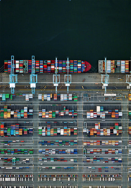 Jeffrey Milstein - Container Port 38, Archival Inkjet Print Mounted on Archival Substrate, Framed in White with Plexiglass,  - Bau-Xi Gallery