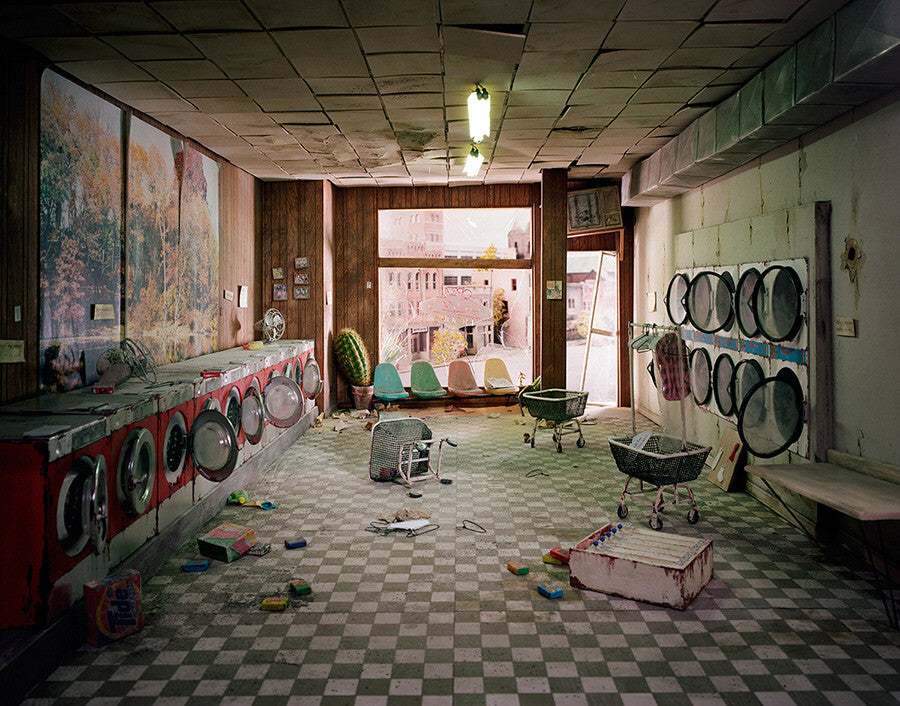 Lori Nix - Laundromat - available in 2 sizes, Chromogenic Print Mounted to Archival Substrate, Framed in White with Plexiglass,  - Bau-Xi Gallery
