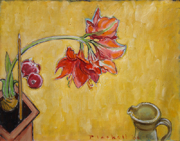 Joseph Plaskett - Red Amaryllis & Red Onion, Oil on Canvas, Floating in Brushed Silver Frame,  - Bau-Xi Gallery