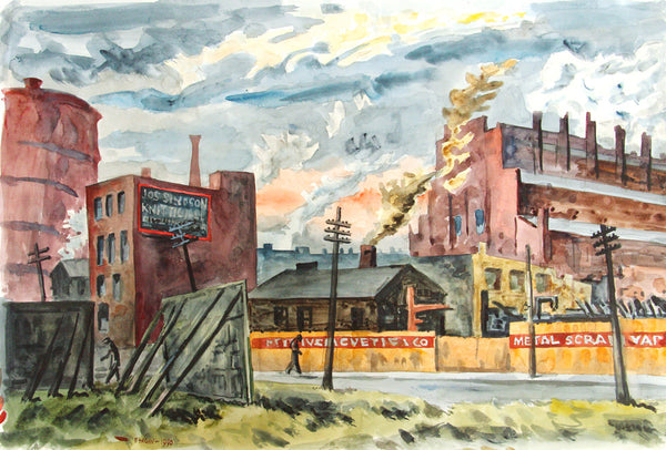 Frederick Hagan - Below King Street (from 1938 oil) - 1990, Watercolour on Paper, Unframed,  - Bau-Xi Gallery