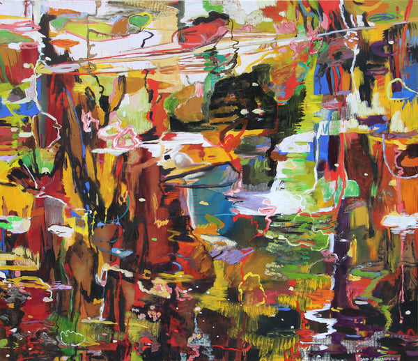 David T. Alexander Artwork | Colourful abstracts of water reflections and landscape paintings.