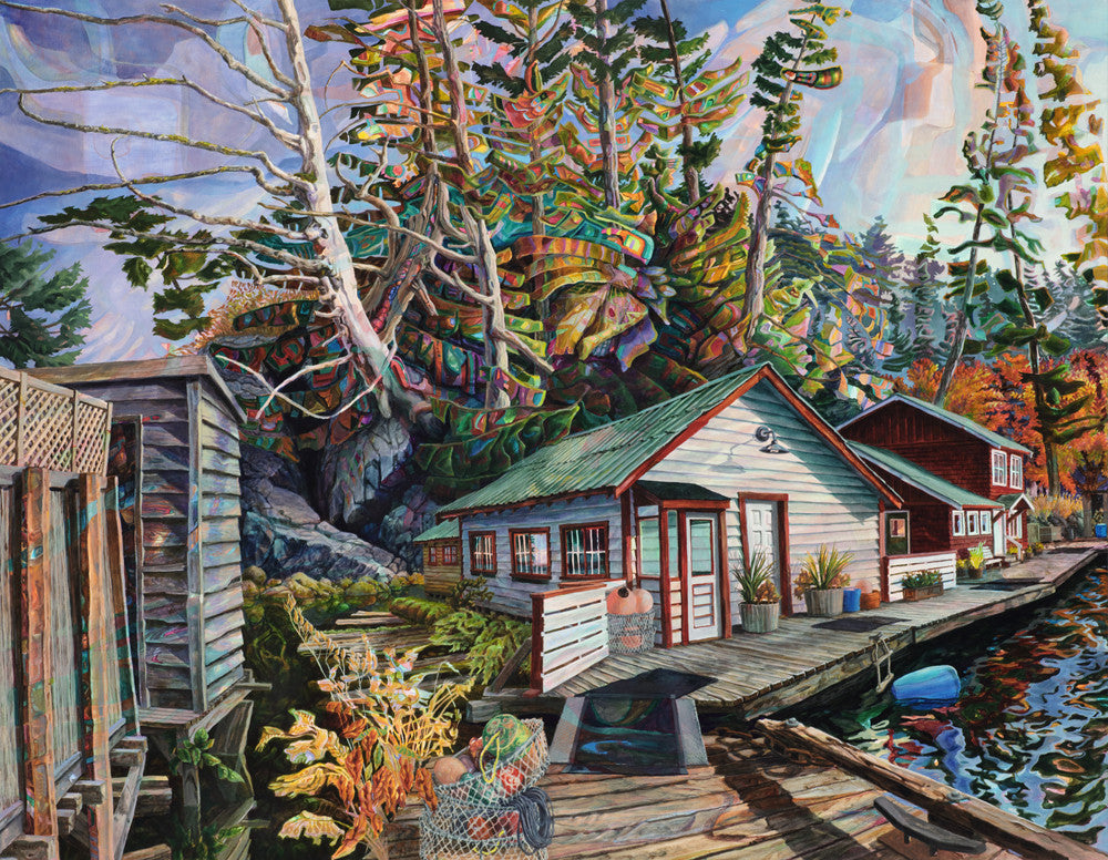 Drew Burnham - Growing on the Boardwalk, Sullivan Bay, Oil & acrylic on canvas, Unframed,  - Bau-Xi Gallery