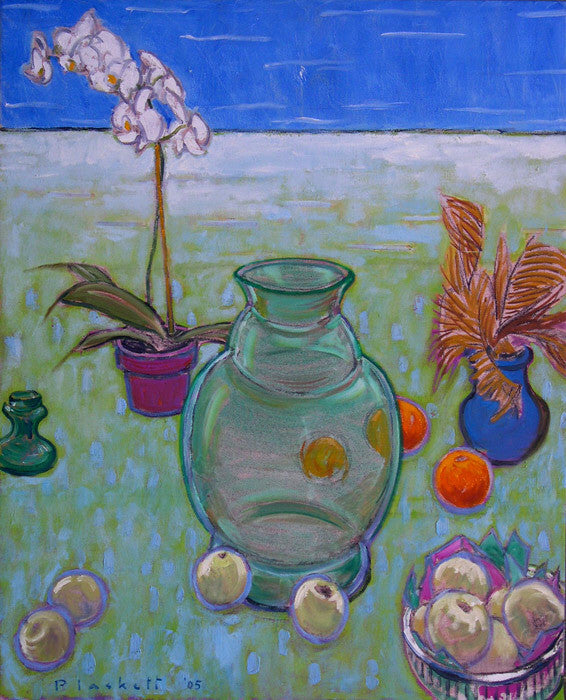 Joseph Plaskett - Still Life with White Orchid 2, Oil on Canvas, Floating in Brushed Silver Frame,  - Bau-Xi Gallery