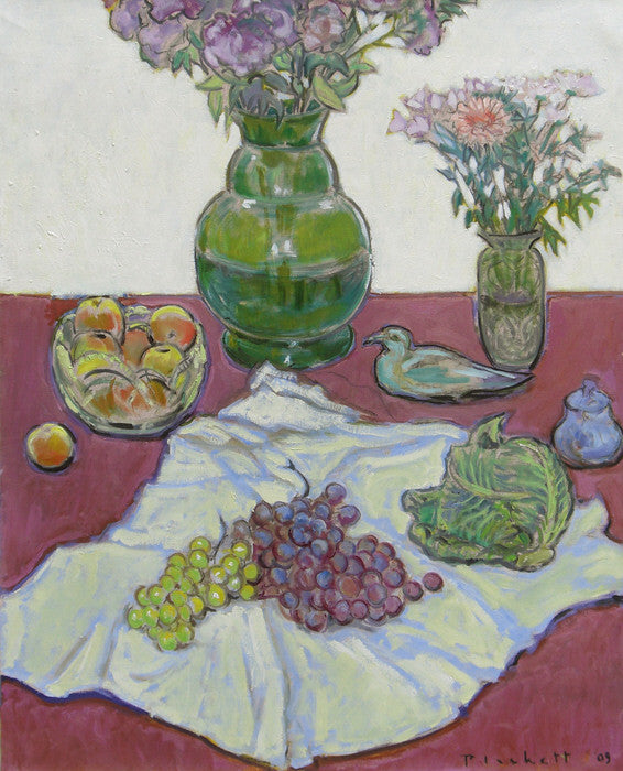 Joseph Plaskett - Still Life with Cabbage and Seagull, Oil on Canvas, Floating in Brushed Silver Frame,  - Bau-Xi Gallery