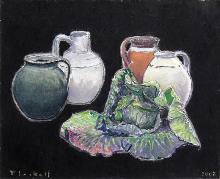 Joseph Plaskett - Cabbage and Pots, Oil on Canvas, Floating in Brushed Silver Frame,  - Bau-Xi Gallery