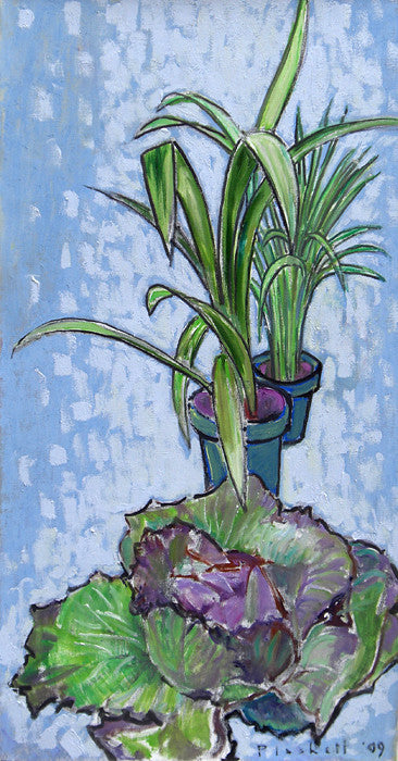 Joseph Plaskett - Cabbage and Two Clivia (2), Oil on Canvas, Floating in Brushed Silver Frame,  - Bau-Xi Gallery