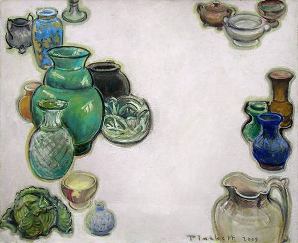 Joseph Plaskett - Vessels & Cabbage, Oil on Canvas, Floating in Brushed Silver Frame,  - Bau-Xi Gallery