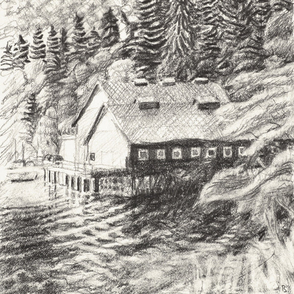 Drew Burnham - The Green Cannery-drawing, Graphite on Paper, Framed in Black with Glass,  - Bau-Xi Gallery
