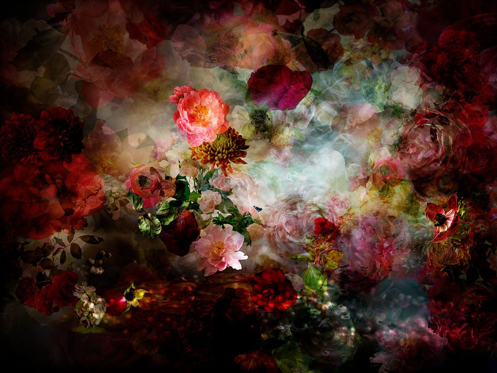 Isabelle Menin | There's A River In My Head 11 | Colourful, dramatic, painterly, abstract composite photographs of flowers and fruit.