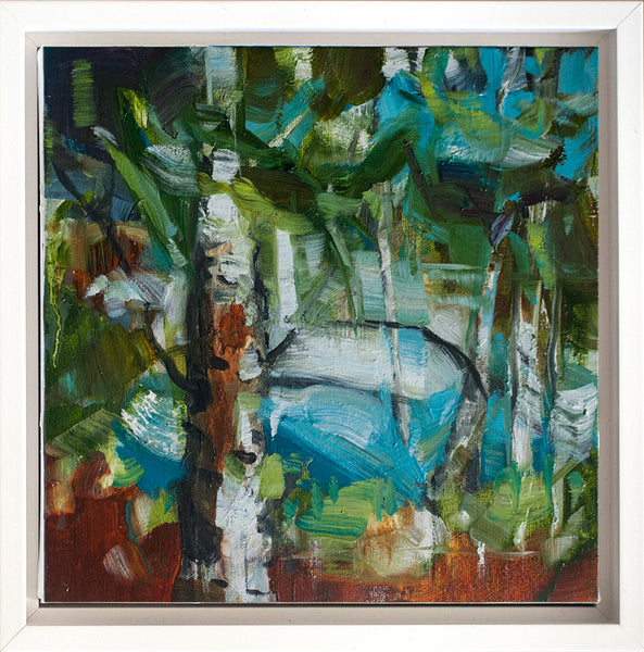 Cori Creed - Estuary (Squamish) Study II, Oil on Canvas, Framed in White,  - Bau-Xi Gallery